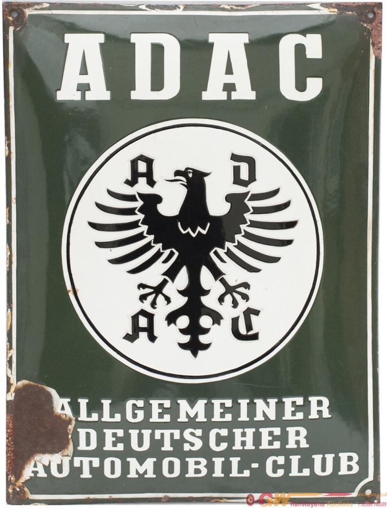 Enamel Advertising Sign ADAC ALLGEMEINER DEUTSCHER