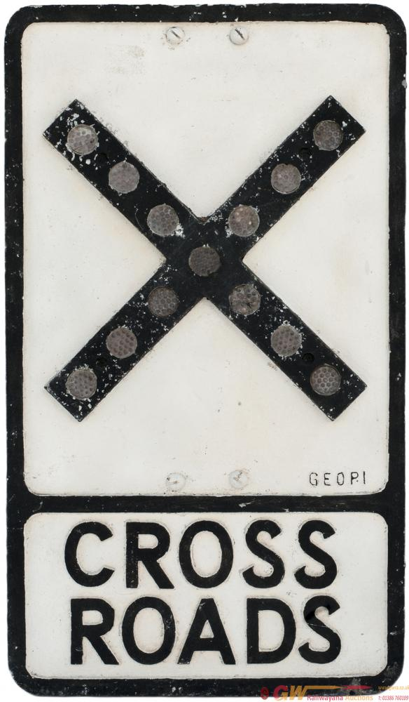 Road Sign CROSSROADS With Glass Fruit Gum
