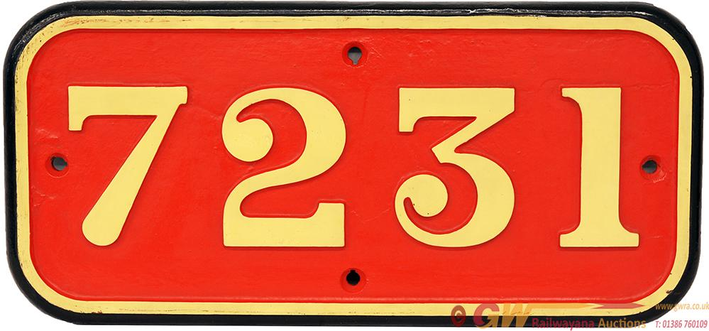 GWR Cast Iron Cabside Numberplate 7231. Ex GWR