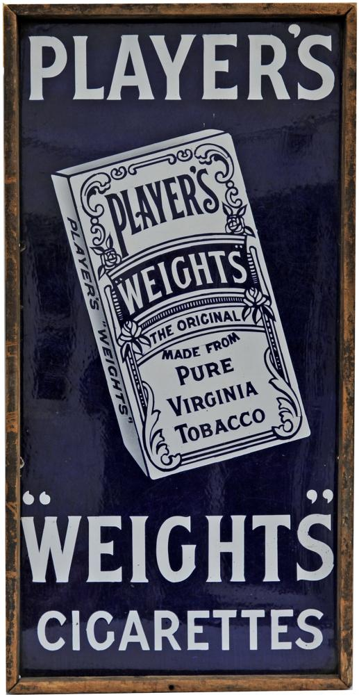 Early Enamel Advertising Sign Players Weights
