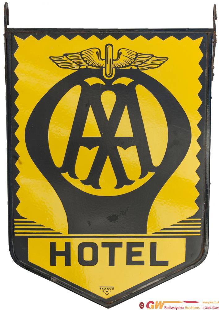 Motoring Enamel Sign AA HOTEL, Double Sided,
