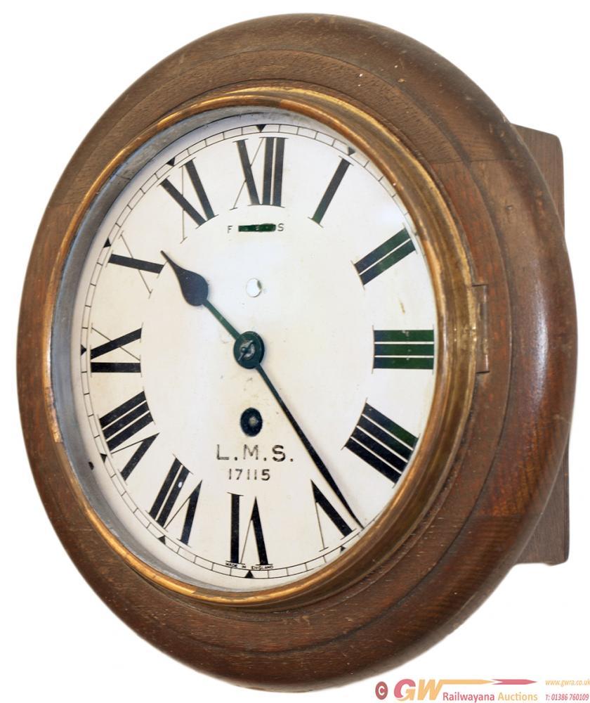 LMS 8 Inch Oak Cased Railway Clock With Original
