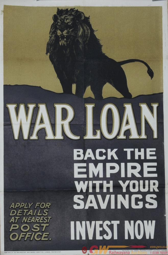 Wartime Poster 20 X 30 'War Loan - Back The Empire