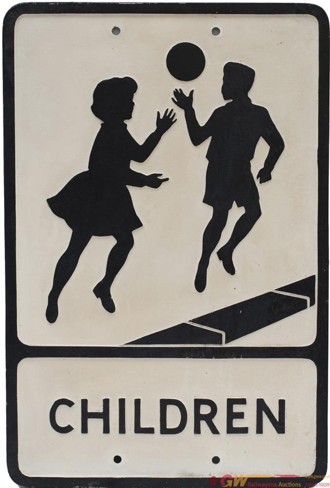Road Sign Cast Aluminium CHILDREN, Makers Name