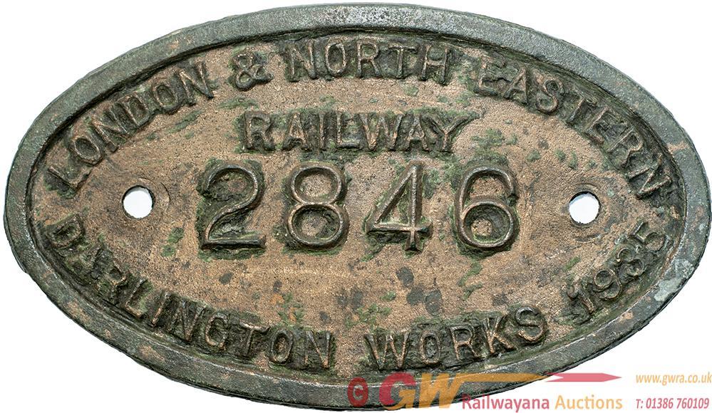 LNER 9X5 Worksplate LONDON & NORTH EASTERN RAILWAY