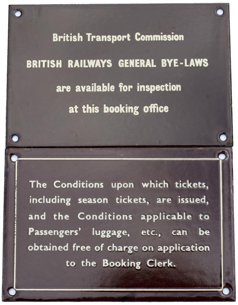 2 X BR(W) Enamel Signs. Conditions Of Tickets And