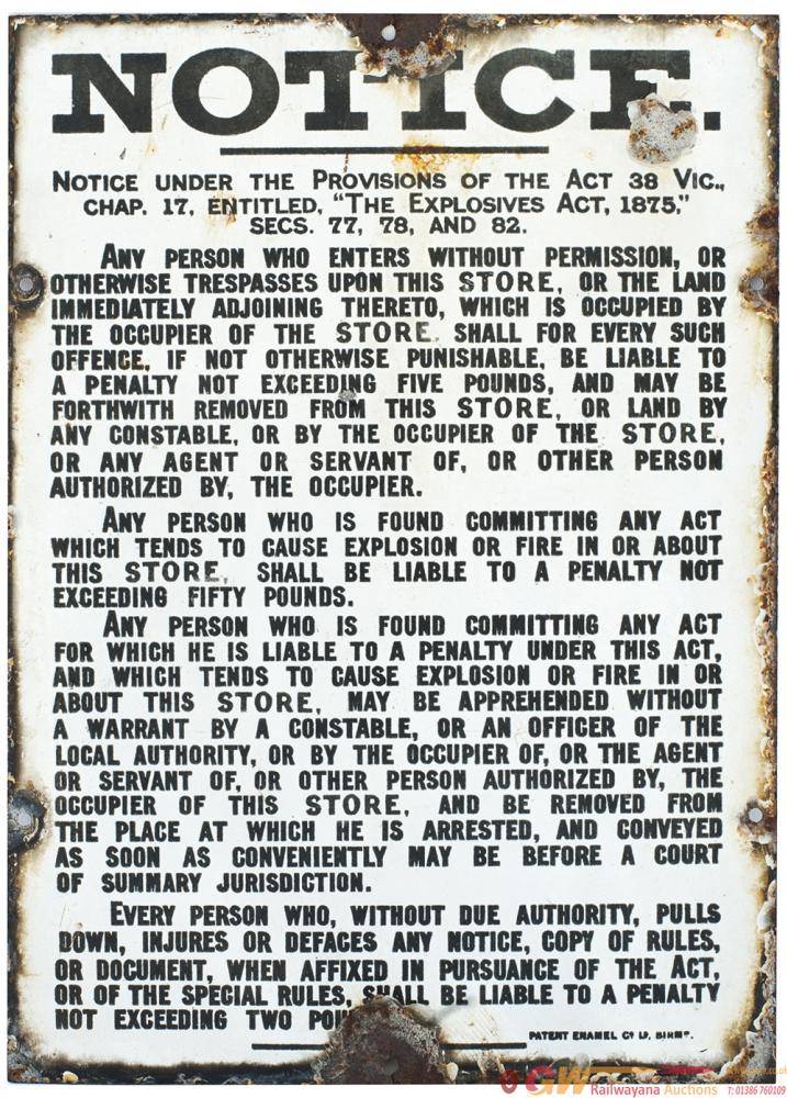 Enamel Sign NOTICE UNDER THE PROVISIONS OF THE
