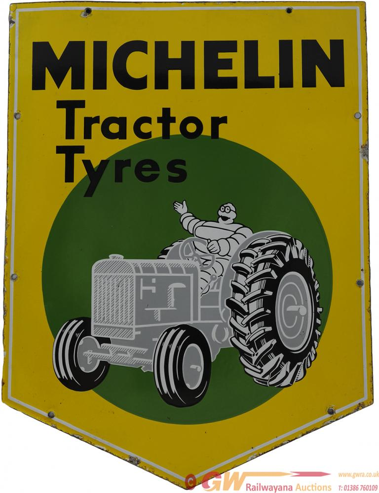 Enamel Advertising Sign 'Michelin Tractor Tyres'.