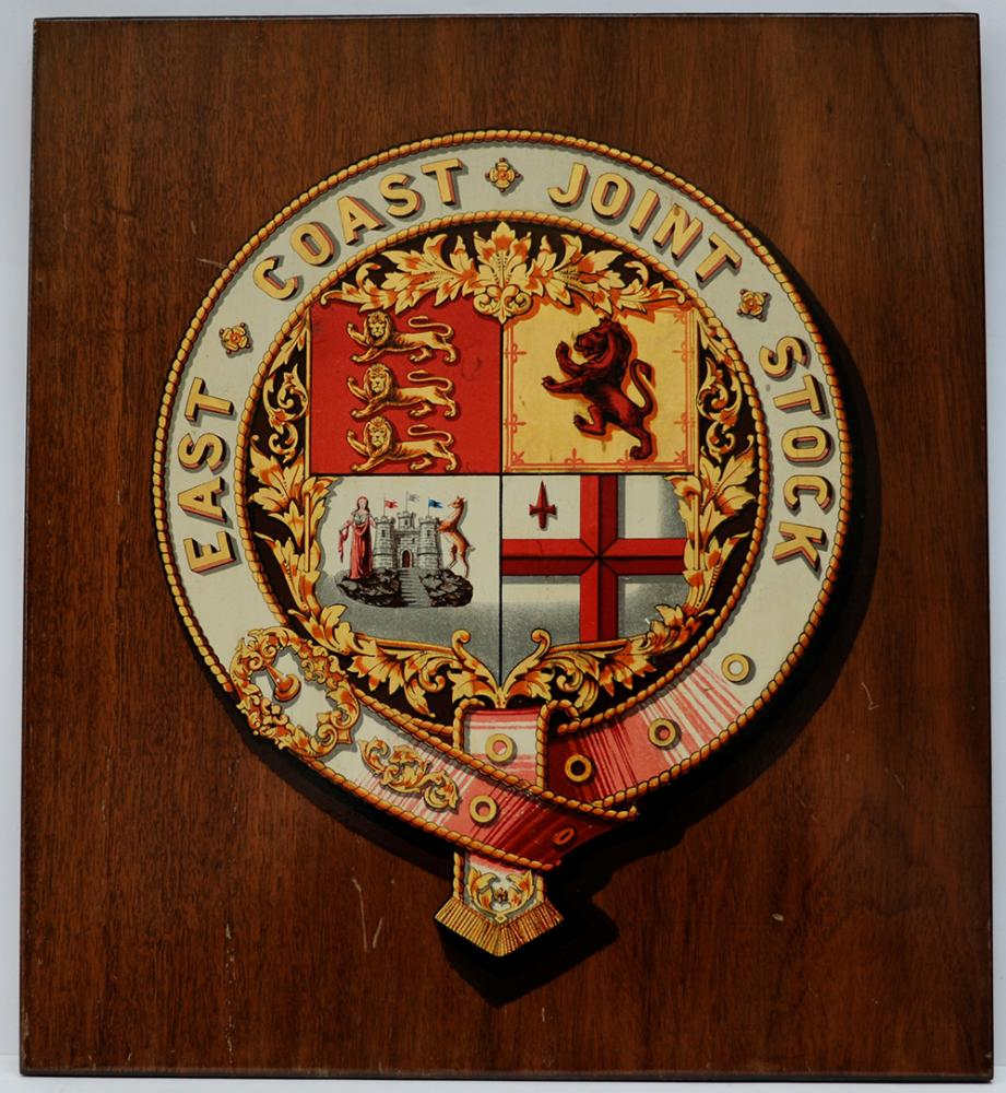 East Coast Joint Stock Mounted Crest. The Company