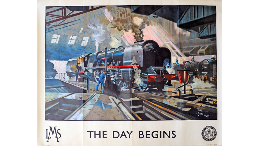 Collectable Antique Railwayana Auction World Records - GW Railwayana - LMS Poster The Day Begins by Terence Cuneo
