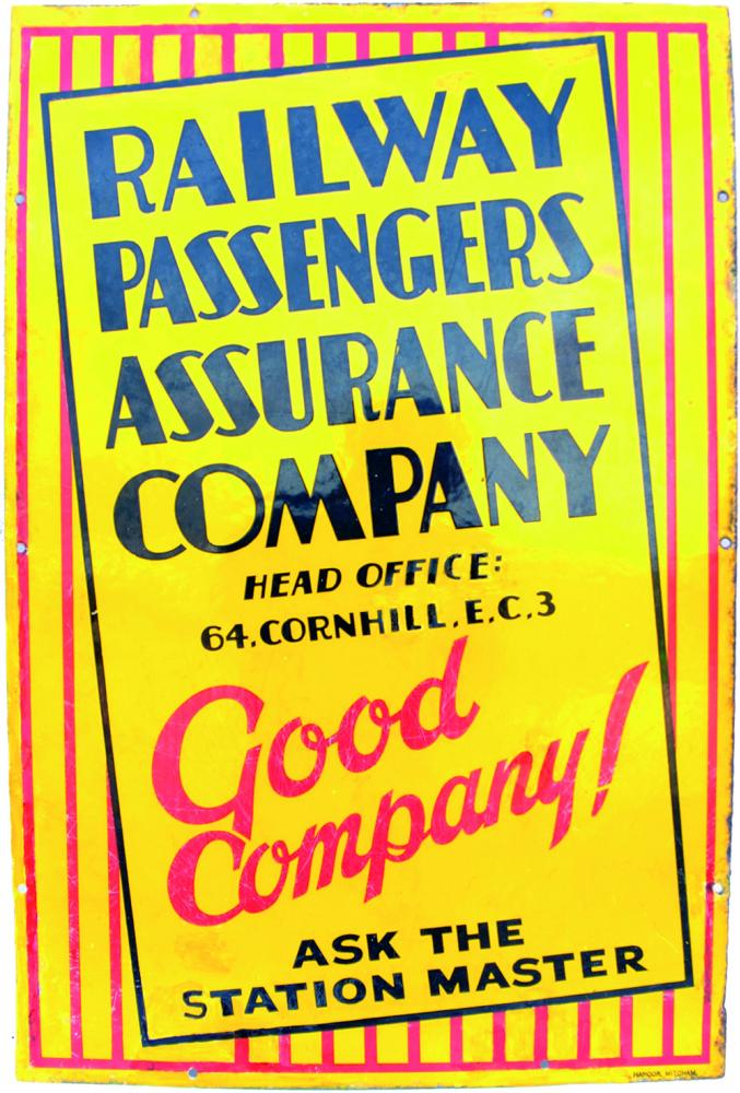 Enamel Advertising Sign 'Railway Passengers