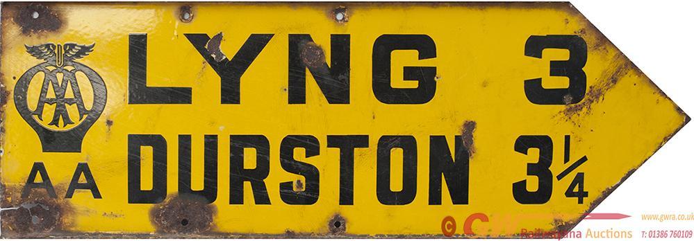 AA Motoring Enamel Road Sign LYNG 3 DURSTON 3.25.