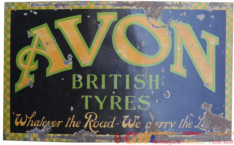 Enamel Advertising Motoring Sign AVON BRITISH