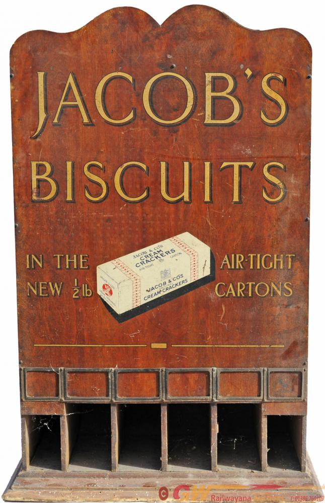 Wooden Jacobs Biscuits Dispenser. Wording In Gold