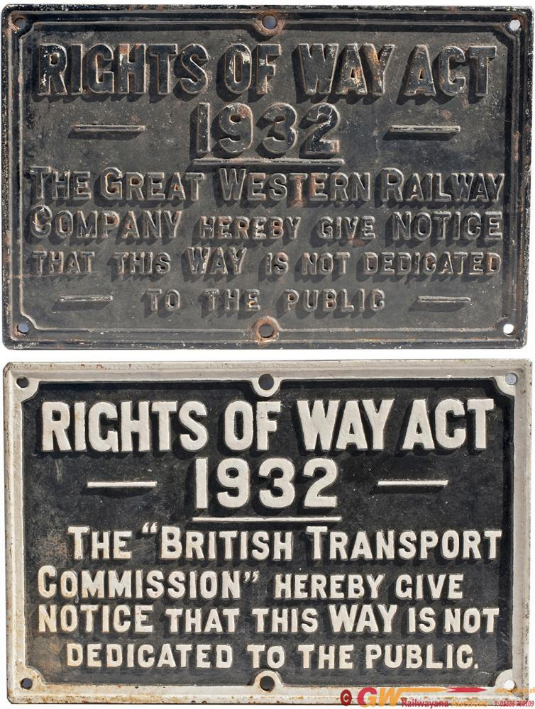 GWR Cast Iron Sign GREAT WESTERN RAILWAY RIGHTS OF
