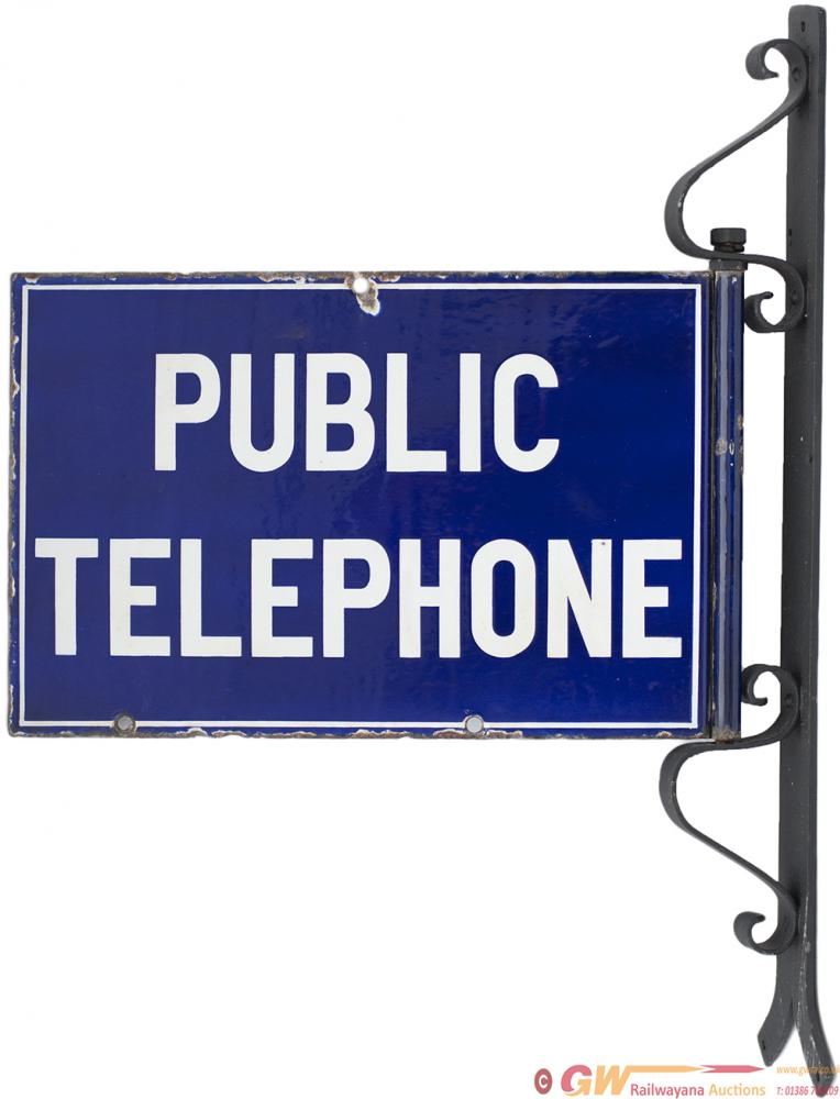 Enamel Sign PUBLIC TELEPHONE With Original Steel