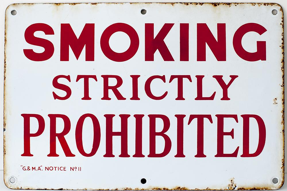 Enamel Sign. SMOKING STRICTLY PROHIBITED G & M A