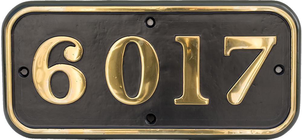 GWR Brass Cabside Numberplate 6017 Ex Collett King