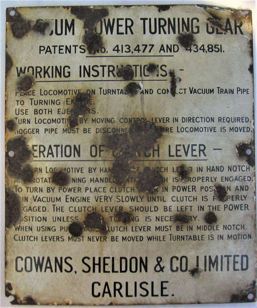 Enamel Vacuum Power Turn Table Sign. Working