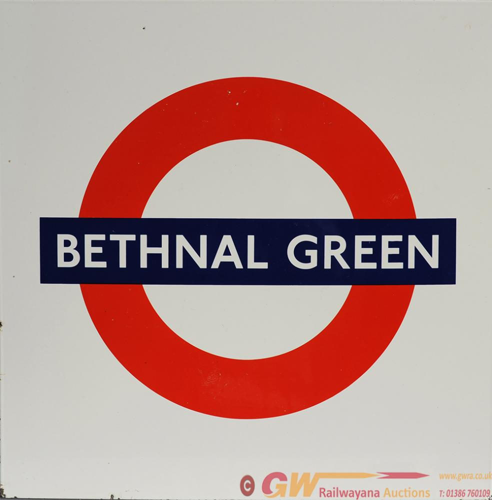 London Transport Enamel Target Sign 'BETHNAL