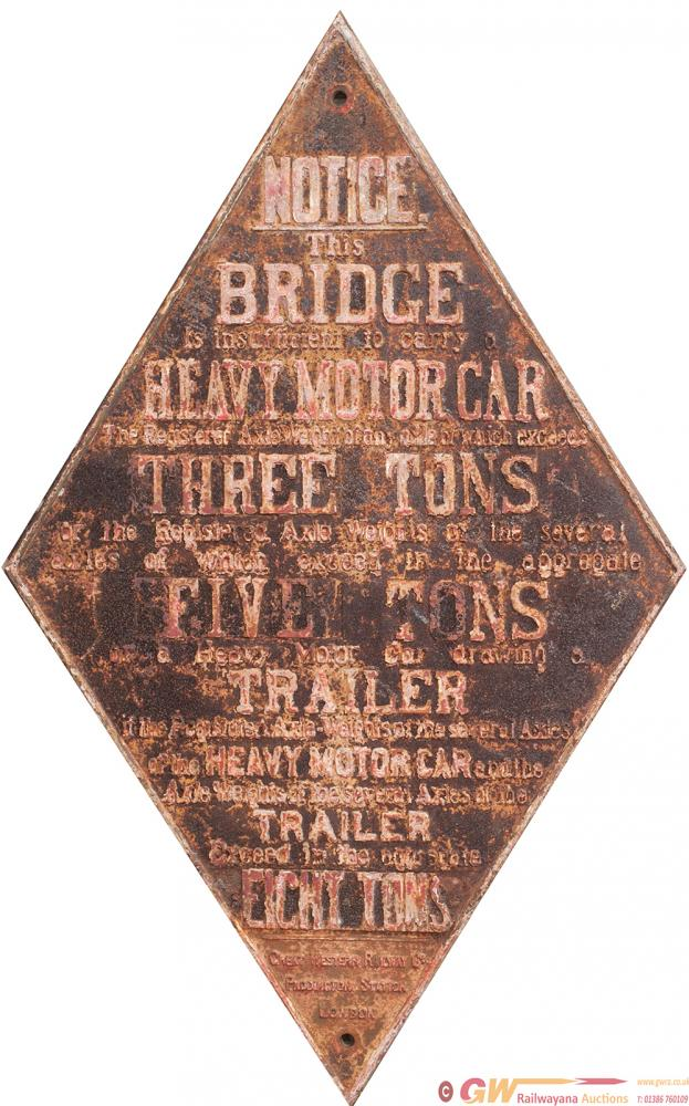 GWR Cast Iron Sign Large Bridge Diamond With Eight