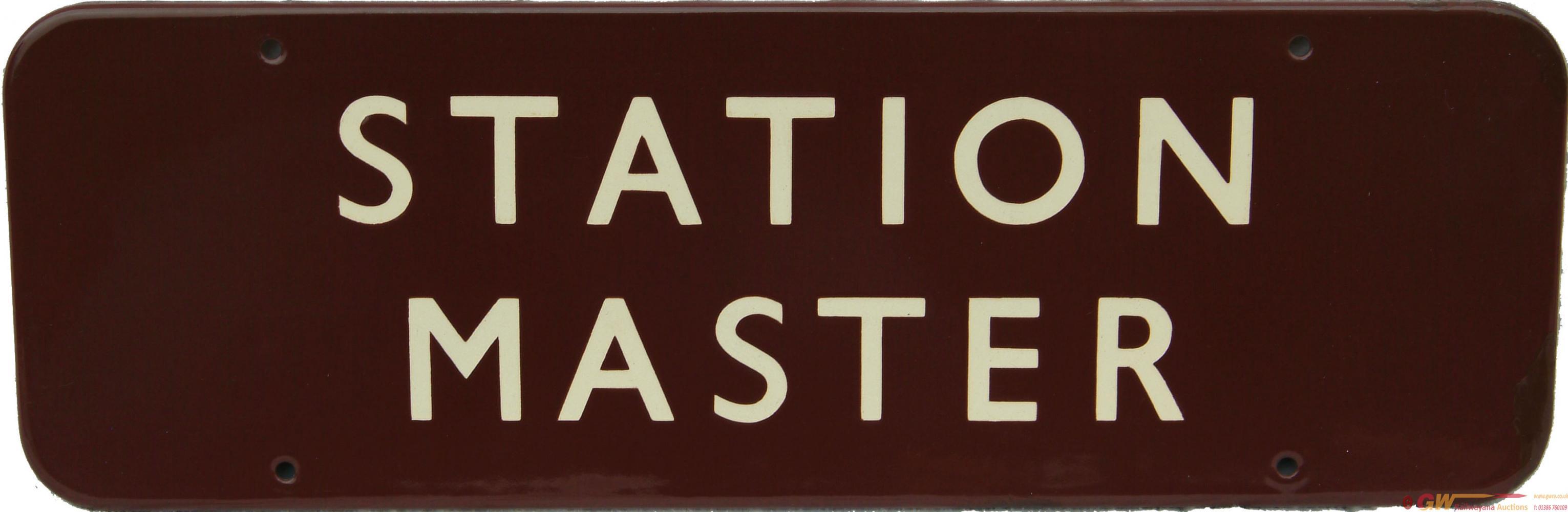 Doorplate, BR(W)  STATION MASTER, F/F. Enamel
