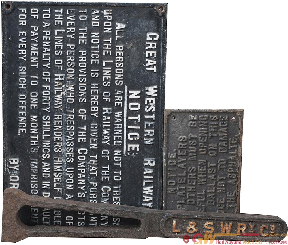 A Trio Of Cast Iron Signs To Include: GWR Post