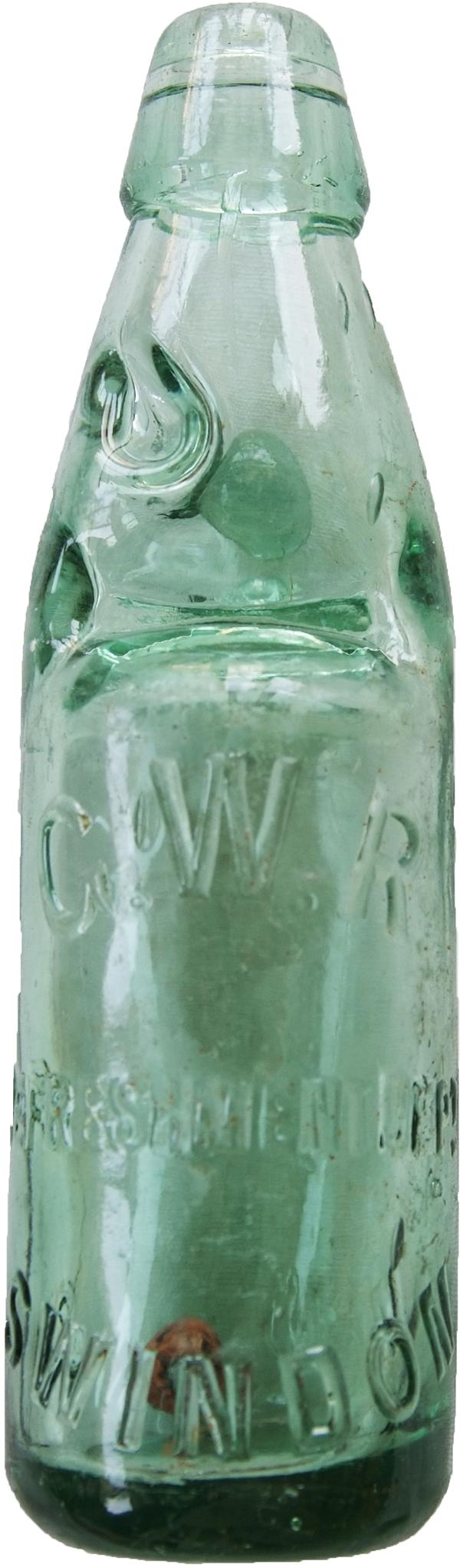 GWR Aqua Glass Codd Bottle Embossed To The Front