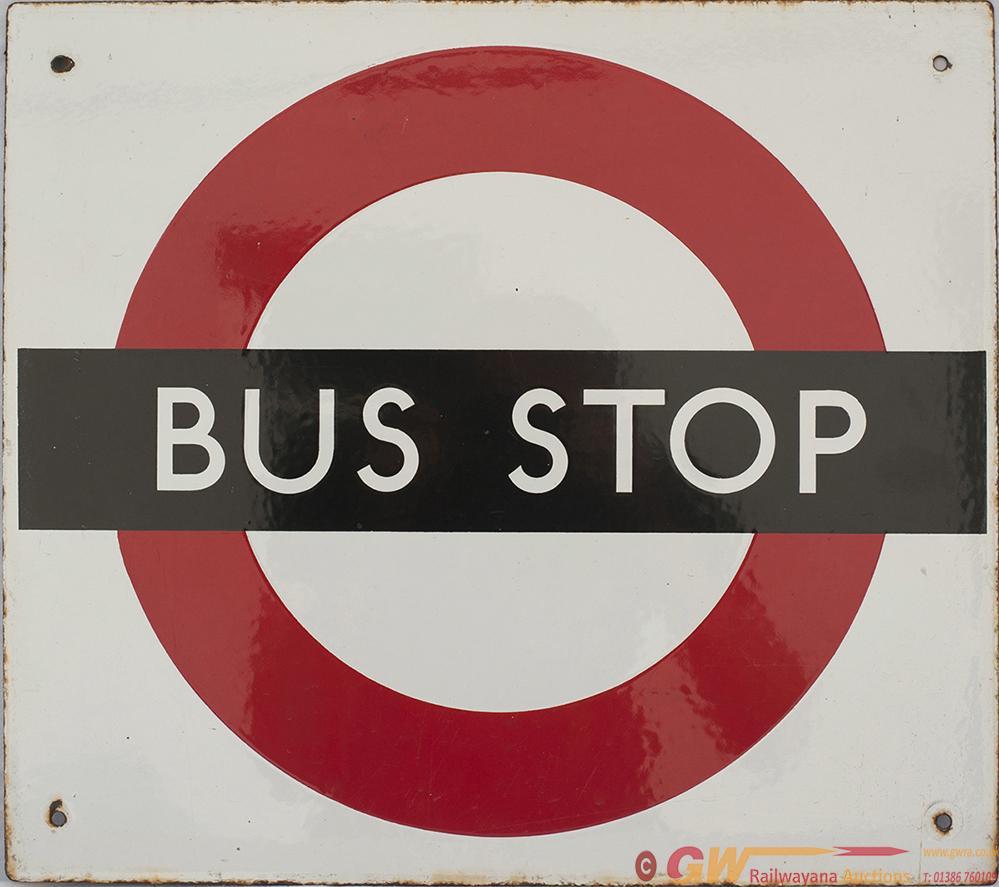 London Transport Enamel Bus  Motoring STOP Sign