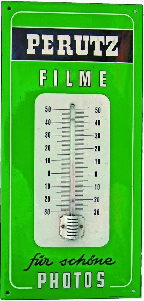 Enamel Thermometer Advertising Sign 'Perutz Filme