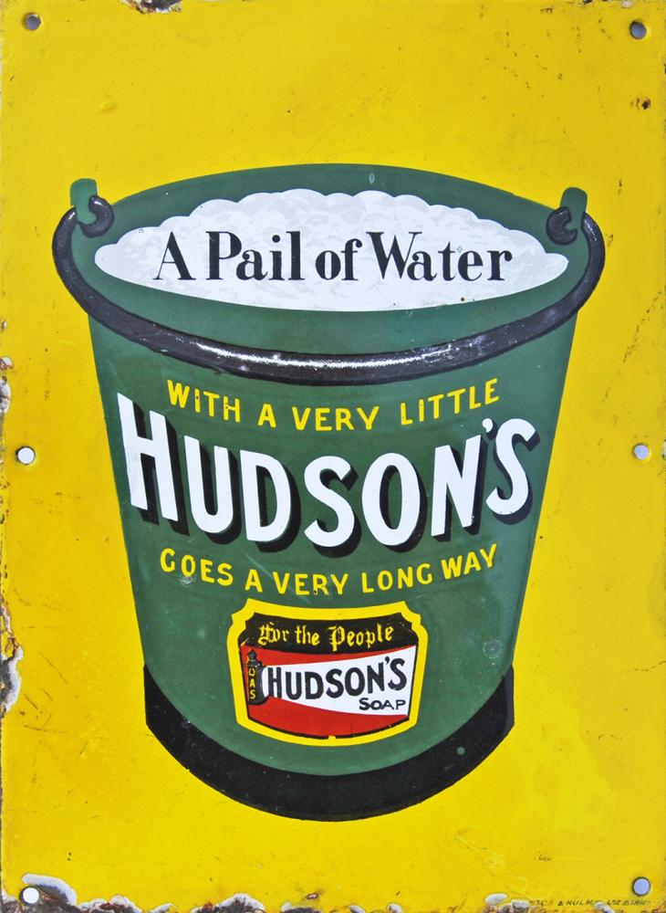 Enamel Advertising Sign 'A Pail Of Water With A