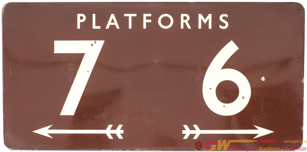 BR(W) FF Enamel Sign PLATFORMS 6 7 With Arrows