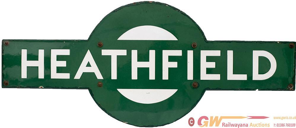 Southern Railway Enamel Target HEATHFIELD From The