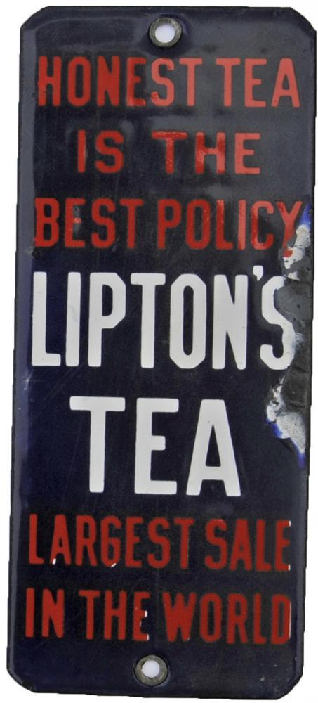Enamel Advertising Finger-Plate ' Lipton's Tea -