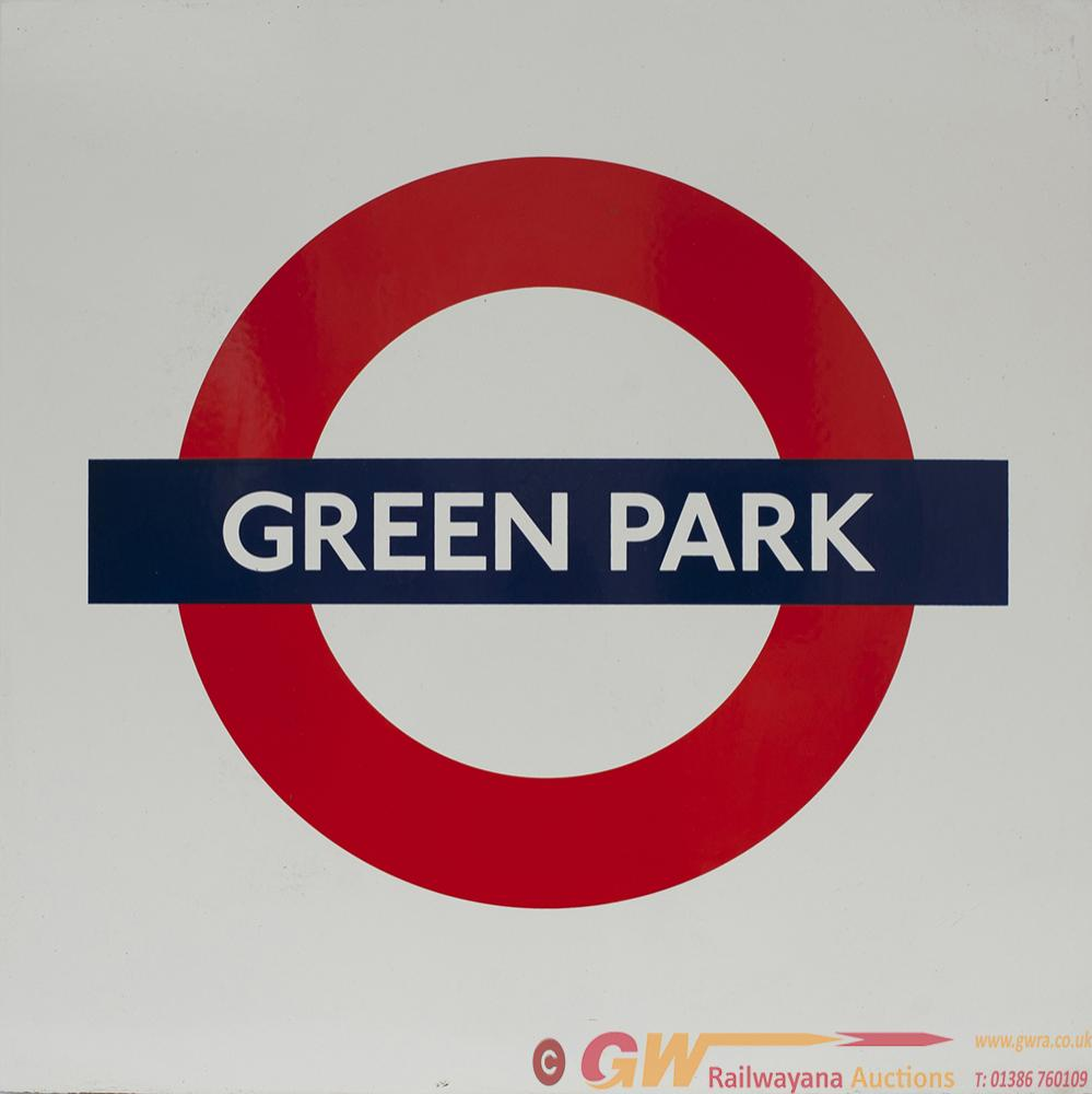 London Transport Enamel Roundel Sign GREEN PARK.