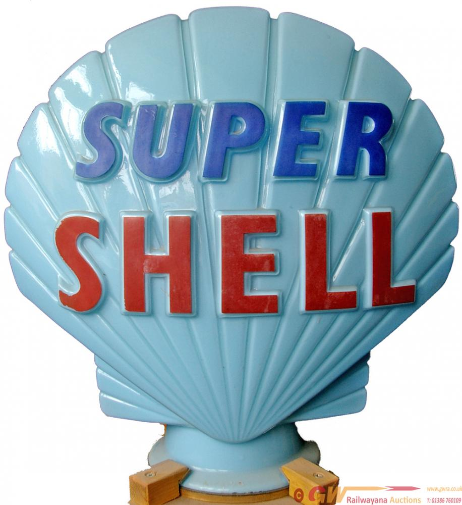 Petrol Globe SUPER SHELL. Light Blue Background