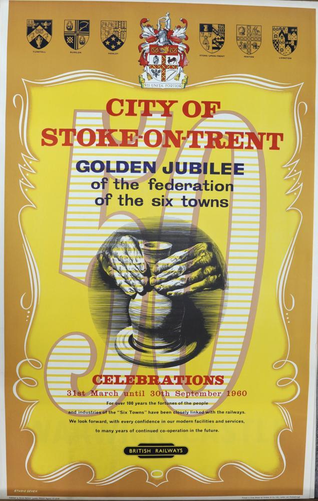 BR Poster, 'City Of Stoke-On-Trent - Golden