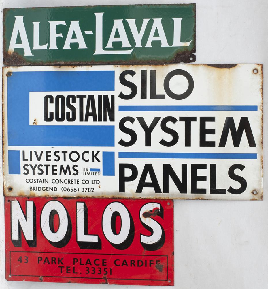 3 X Enamel Advertising Signs. ALFA-LAVAL. COSTAIN