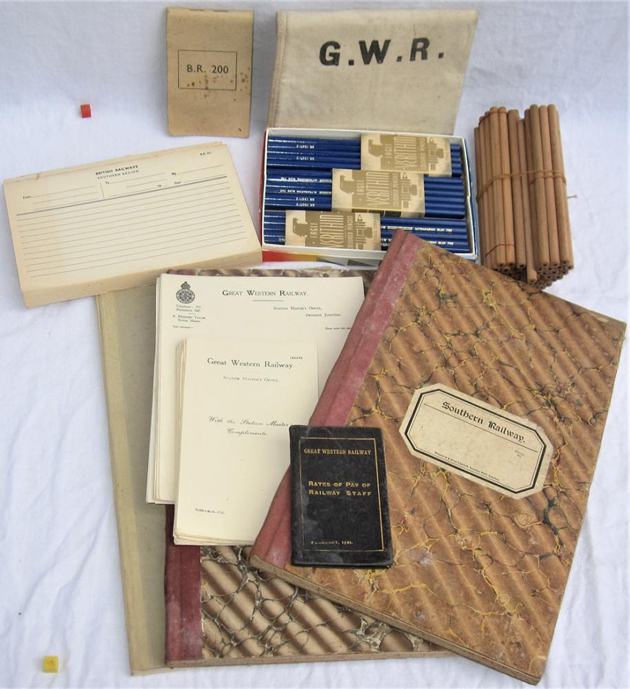 A Collection Of Railway Stationary Items To