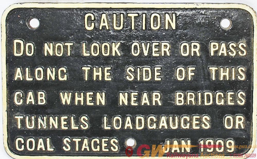 GWR Cast Iron Locomotive Cab Warning Notice As