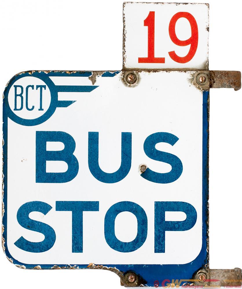 Enamel Bus Sign BCT (Bradford City Transport) BUS