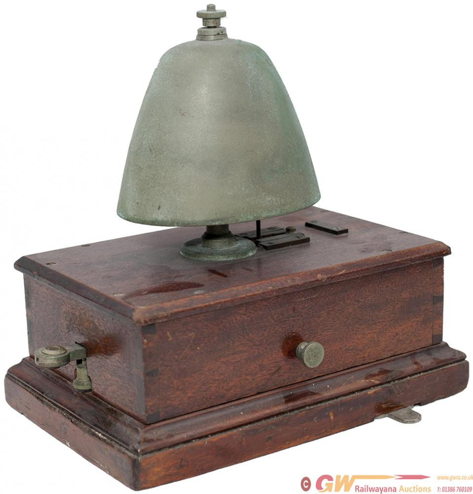 GWR Mahogany Cased Block Bell With Cow Bell And