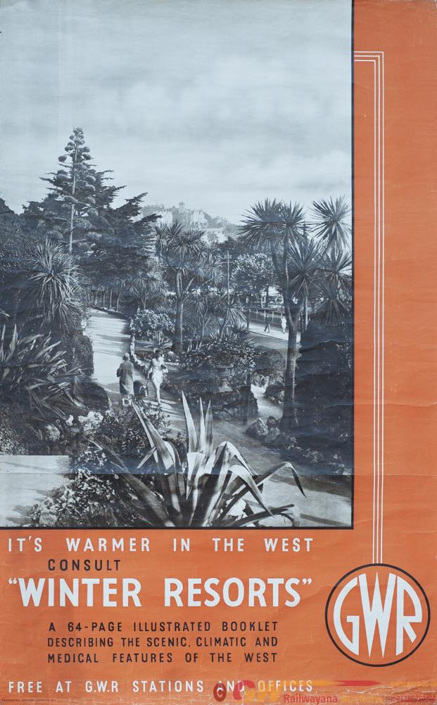 Poster GWR ITS WARMER IN THE WEST CONSULT WINTER