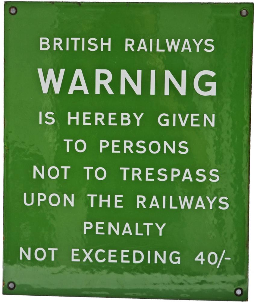 BR(S) Enamel Sign British Railways Warning Is