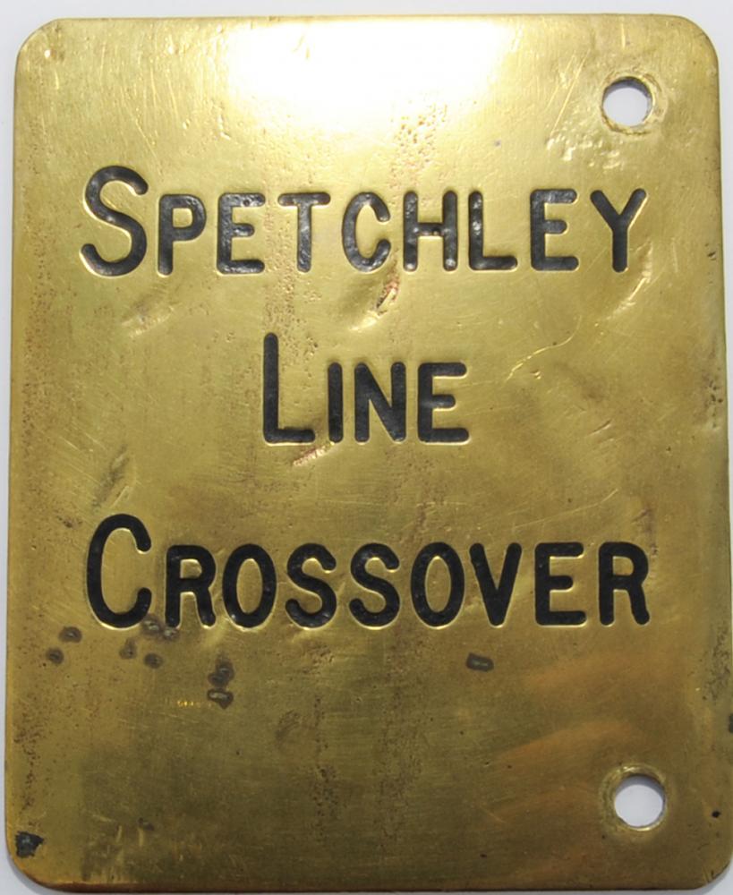 Midland Railway Brass Lever Plate 'SPETCHLEY LINE