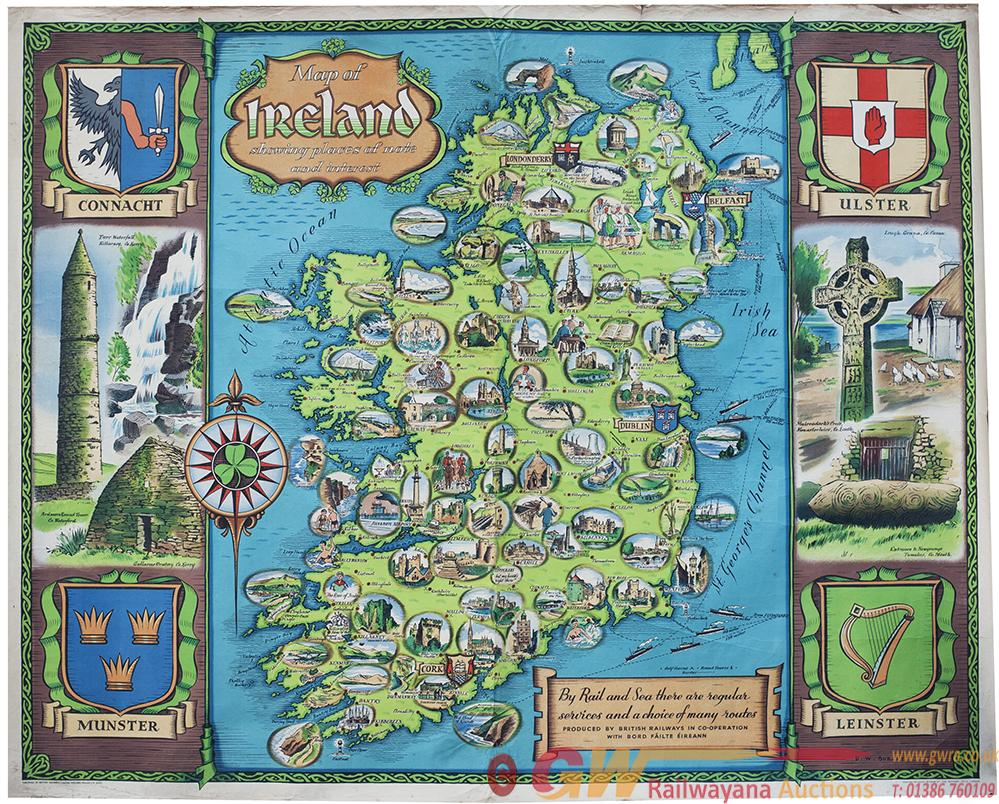 BR Poster MAP OF IRELAND, Showing Places Of Note
