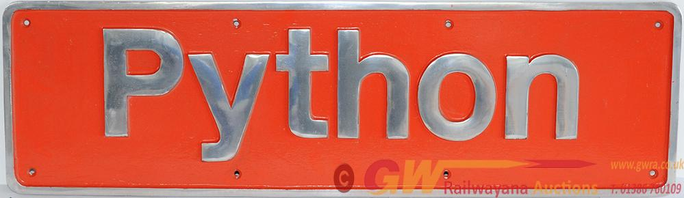 Nameplate PYTHON, Cast Aluminium. Supplied To
