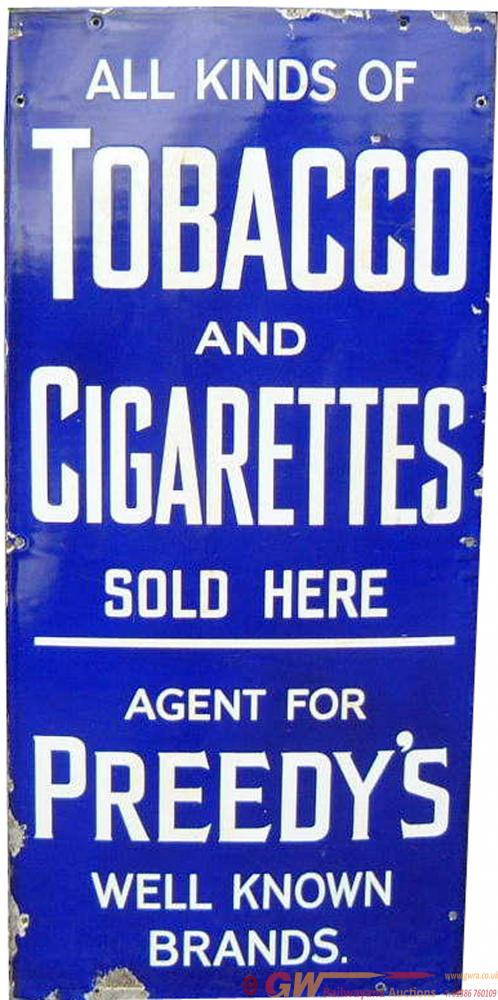 Advertising Enamel Sign 'All Kinds Of Cigarettes &