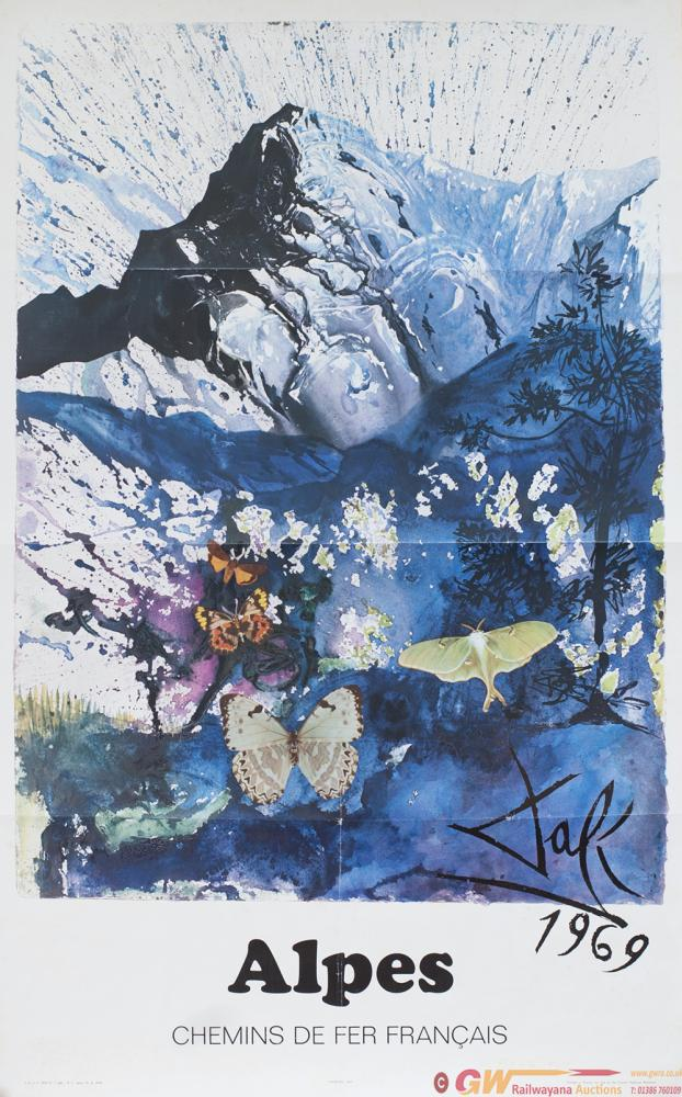 Poster SNCF ALPES By Salvador Dali 1969, Dated