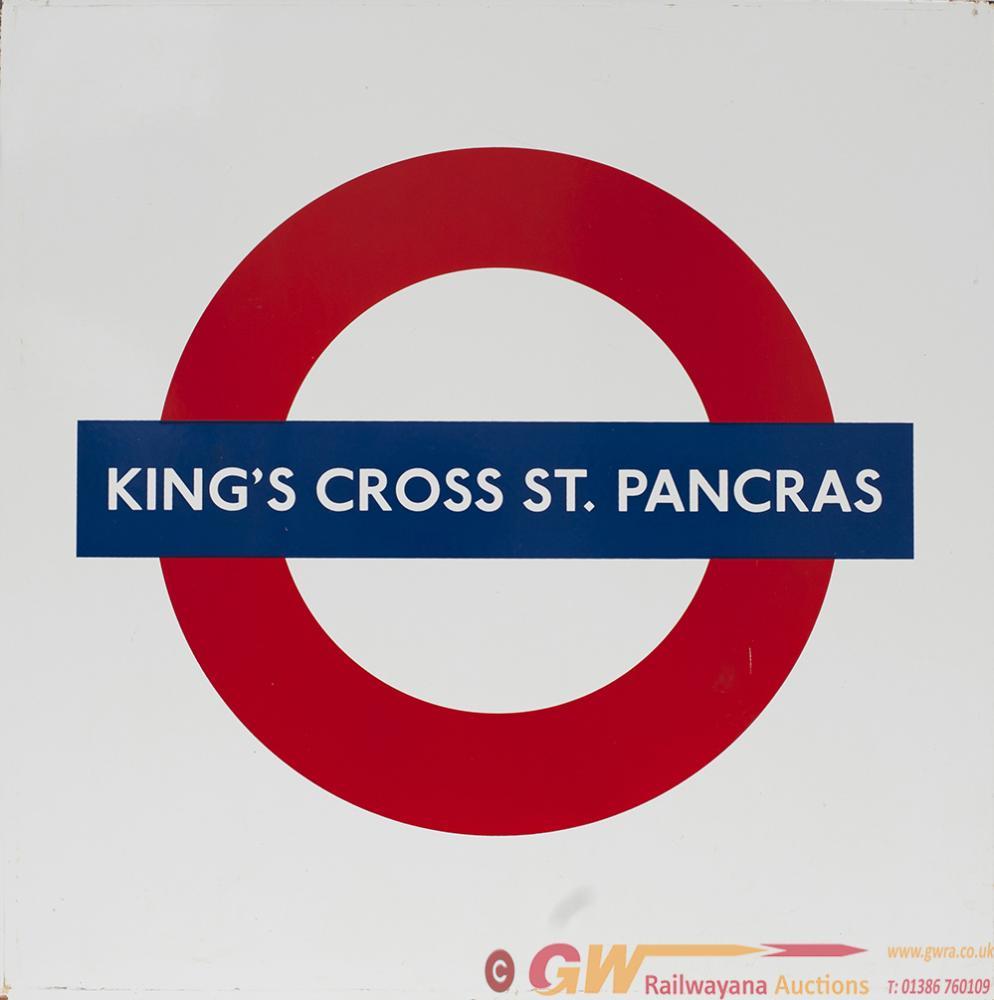 London Transport Enamel Roundel Sign KINGS CROSS